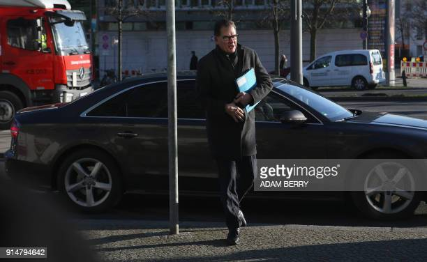 German Development Minister Gerd Mueller politician of the conservative Christian Social Union arrives for further talks to form a new government in...