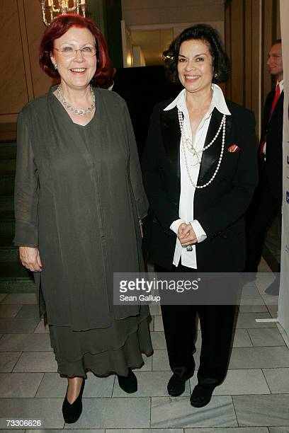 German Development Minister Heidemarie Wieczorek-Zeul and Bianca Jagger attend the Cinema for Peace Charity Gala on February 12, 2007 in Berlin,...