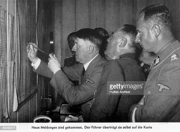 German dictator Adolf Hitler at his Belgian headquarters in BrulydePesche Ardennes planning his campaign during the Second World War