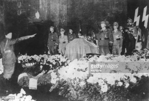 German dictator Adolf Hitler salutes the coffin of German Gestapo leader and Protector of Bohemia and Moravia Reinhard Heydrich in the New Reich...
