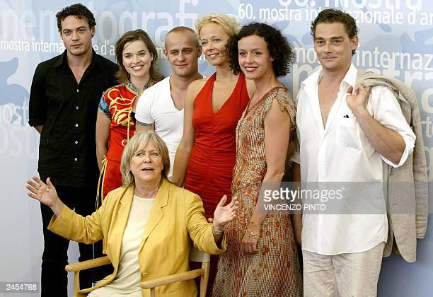 German director Margarethe von Trotta poses with actors Fedya van Hut, Thekla van Reuten, Jurgen Vogel, Katja Rienmann, Maria Schrader and Martin...