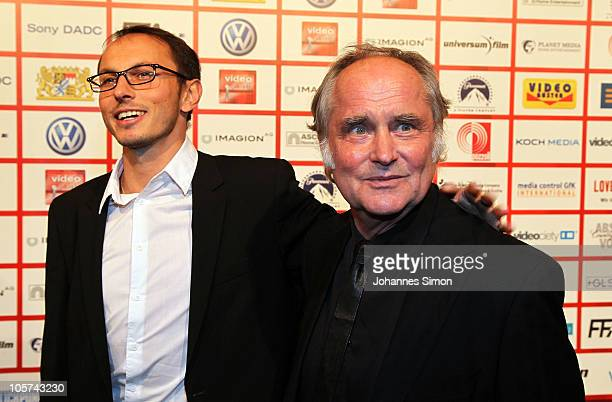 German director Michael Verhoeven and his son Luca Verhoeven attend the Video Night 2010 at The Westin Grand on October 19 2010 in Munich Germany