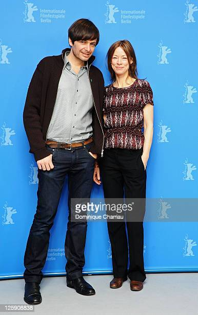 German director Ulrich Koehler and German actress Jenny Schily attend the 'Schlafkrankheit' Photocall during day three of the 61st Berlin...