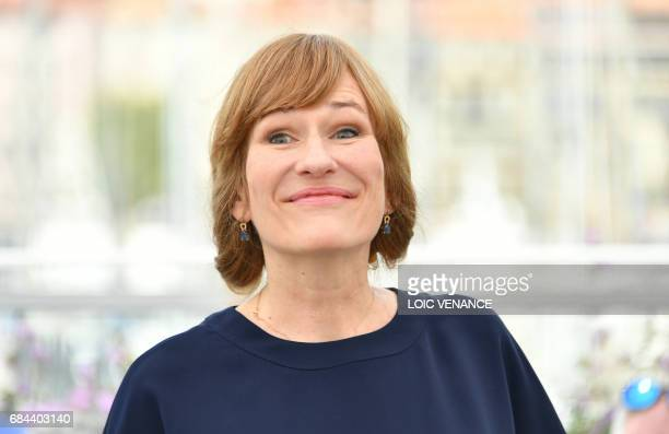 German director Valeska Grisebach poses on May 18 2017 during a photocall for the film 'Western' at the 70th edition of the Cannes Film Festival in...