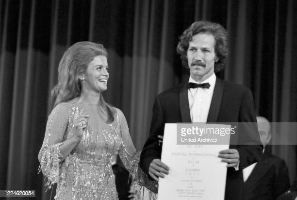 German director Werner Herzog Jury Grand Prix winner for the competition film Jeder für sich und Gott gegen alle On stage with SwedishAmerican...
