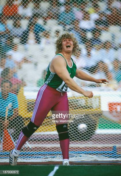 German discus thrower Ilke Wyludda at the IAAF Grand Prix Final in Athens 1990