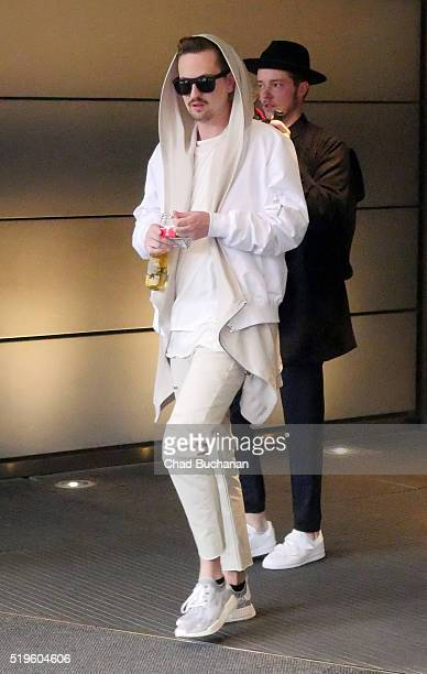 German DJ Robin Schulz sighted departing the Grand Hyatt Hotel on April 7 2016 in Berlin Germany