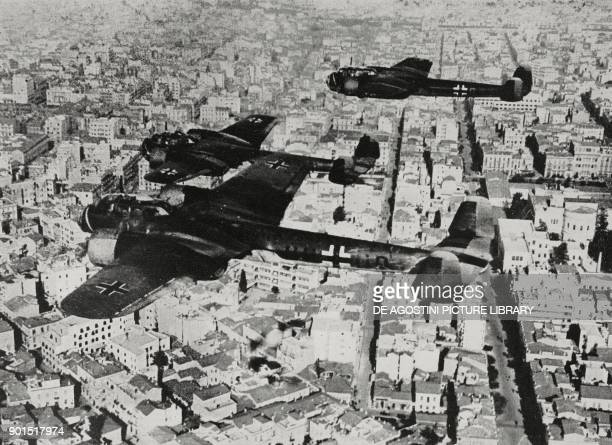 German Dornier Do 17 bombers flying over the city of Athens Greece World War II from L'Illustrazione Italiana Year LXVIII No 20 May 18 1941