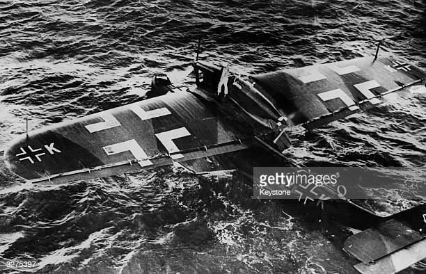 A Nazi reconnaissance plane a Dornier Do 18 being prepared to take off on a murderous mission over the North Sea