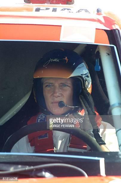 German driver Jutta Kleinschmidt gets ready to start Leg 3 of the UAE Desert Challenge rally 1 November 2001Kleinschmidt was sacond overall behind...