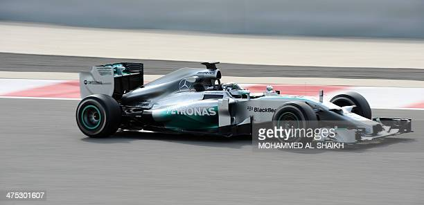 German driver Nico Rosberg of Mercedes team drives on February 27 2014 during a fourday testing period at Bahrain's Sakhir circuit ahead of the...