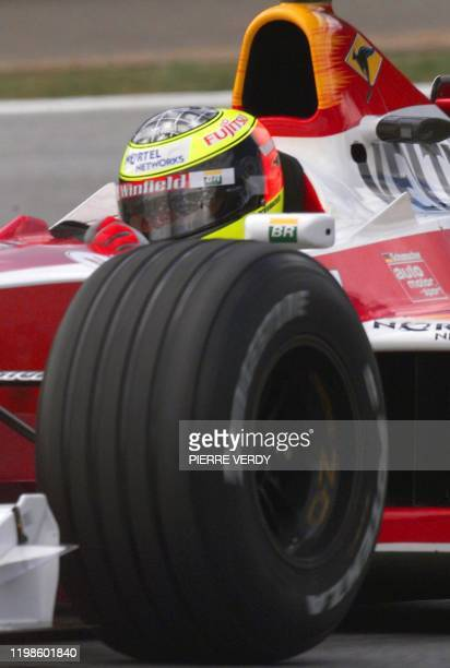 German driver Ralf Schumacher powers his WilliamsSupertec through a curve of the racetrack during the first free practice session in Spielberg 23...