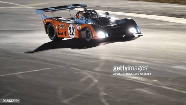 German driver Roald Goethe competes in his 1973s Mirage Gr7 during a race for cars from 1972 to 1981, and takes part in the ninth edition of Le Mans...