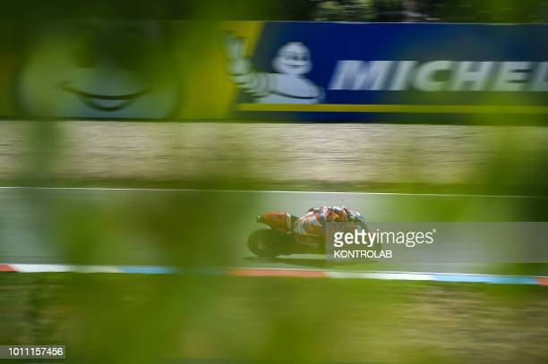 German driver Stefan Bradl of Team HRC Honda racing during the qualifying of Czech Republic Moto GP Grand Prix in Brno Circuit.