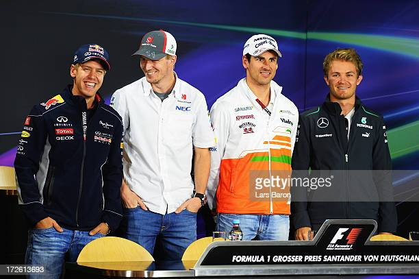 German drivers Sebastian Vettel of Infiniti Red Bull Racing, Nico Hulkenberg of Sauber F1, Adrian Sutil of Force India and Nico Rosberg of Mercedes...