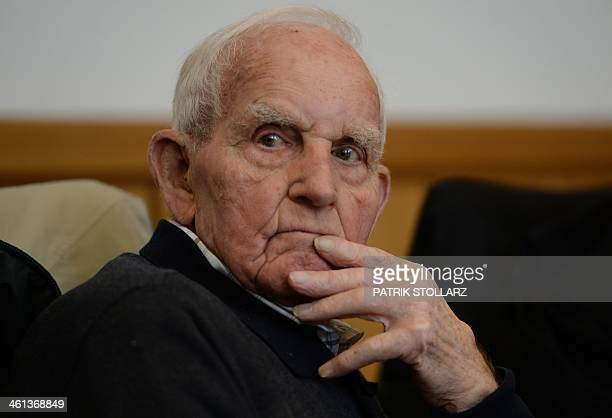 German Dutch born former Nazi SS officer Siert Bruins waits at the state court room in Hagen western German on January 8 during his trial on charges...