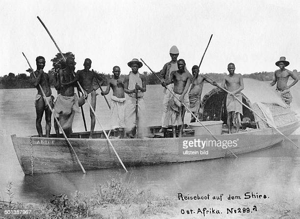 German East Africa boat with natives on Shire River probably in the 1910s