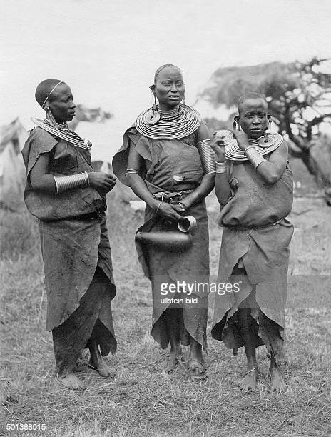 German East Africa Massai women with necklace and armlets and earlobes prolonged by earrings probably in the 1910s