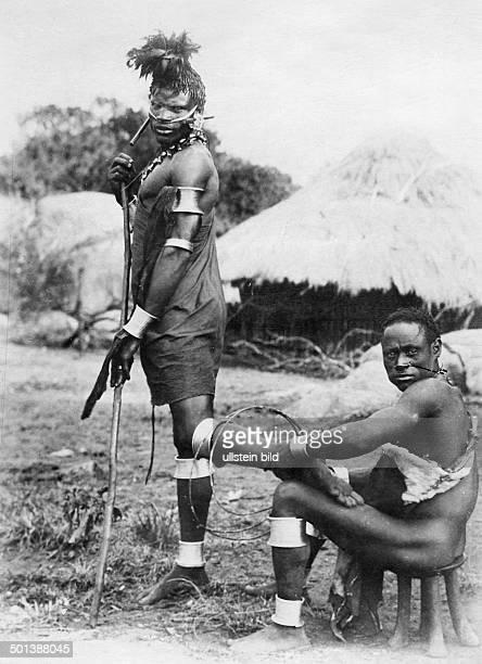 German East Africa native men with body decoration probably in the 1910s