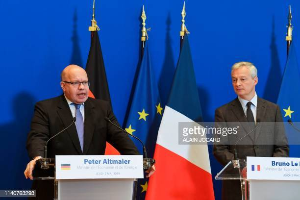 German Economy and Energy Minister Peter Altmaier and French Economy and Finance Minister Bruno Le Maire hold a joint press conference after a...
