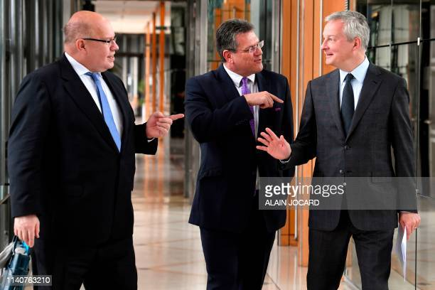 German Economy and Energy Minister Peter Altmaier European Commission VicePresident Maros Sefcovic and French Economy and Finance Minister Bruno Le...
