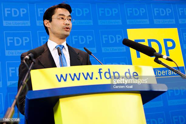 German Economy Minister and Chairman of the German Free Democrats political party Philipp Roesler attends a press conference on December 16 2011 in...