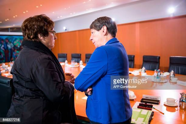 German economy minister Brigitte Zypries and Environment minister Barbara Hendricks speak prior to the weekly cabinet meeting at the Chancellery in...