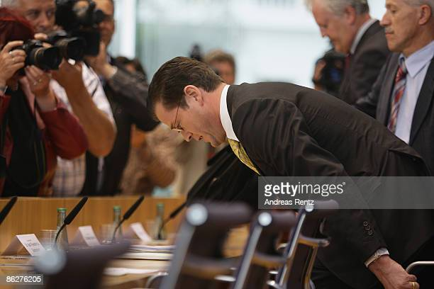 German Economy Minister KarlTheodor zu Guttenberg arrives for a press conference on April 29 2009 in Berlin Germany Guttenberg presents and confirmed...