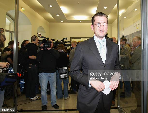 German Economy Minister Karl-Theodor zu Guttenberg leaves after a statement the German Economy Ministry on May 4, 2009 in Berlin, Germany. Guttenberg...