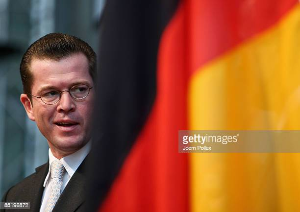 German Economy Minister KarlTheodor zu Guttenberg speaks at the Germany California ICT Business Summit with California Governor Arnold Schwarzenegger...