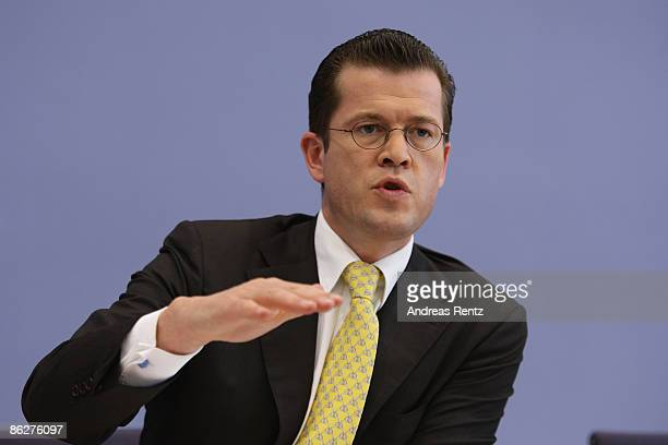 German Economy Minister KarlTheodor zu Guttenberg speaks during a press conference on April 29 2009 in Berlin Germany Guttenberg presents and...