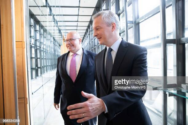 German Economy Minister Peter Altmaier and French Minister of economy Bruno Le Maire leave a joint meeting for going to press conference on July 11...
