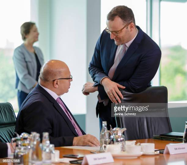 German Economy Minister Peter Altmaier and German Health Minister Jens Spahn before the Weekly Government Cabinet Meeting on June 27 2018 in Berlin...