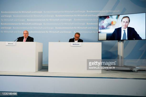 German Economy Minister Peter Altmaier and state secretary at the economic ministry Ulrich Nussbaum attend a news conference with CureVac CEO...