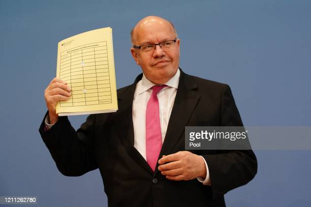 German Economy Minister Peter Altmaier attends a press conference to present the spring economic forecast during the novel coronavirus crisis on...