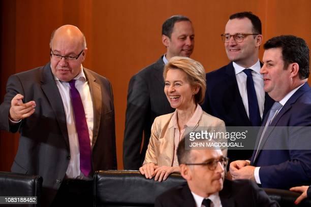 German Economy Minister Peter Altmaier German Defence Minister Ursula von der Leyen German Health Minister Jens Spahn and German Labour Minister...