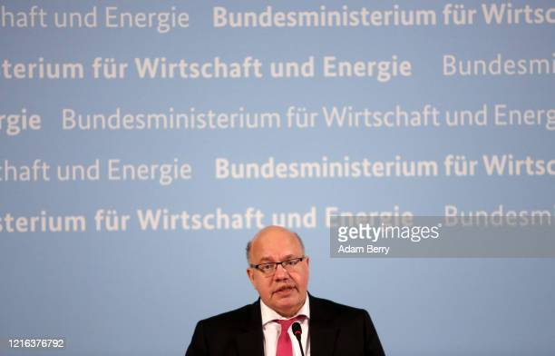 German Economy Minister Peter Altmaier gives a statement to the media on the current state of the German economy as the spread of the coronavirus...