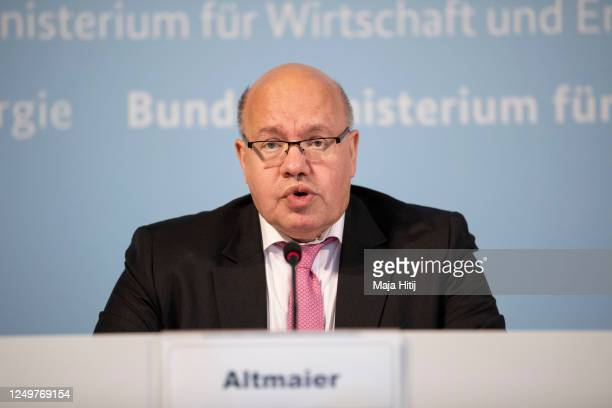 German Economy Minister Peter Altmaier gives a statement to the media with Dietmar Hopp CEO of Covid19 vaccine developer CureVac on June 15 2020 in...
