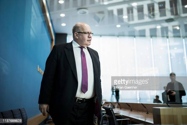 German Economy Minister Peter Altmaier is pictured after a press conference on April 17 2019 in Berlin Germany