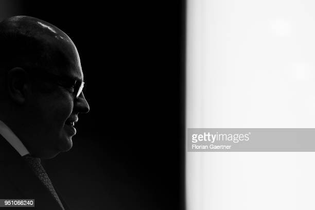 Image has been converted to black and white BERLIN GERMANY APRIL 25 German Economy Minister Peter Altmaier is pictured during a press conference on...