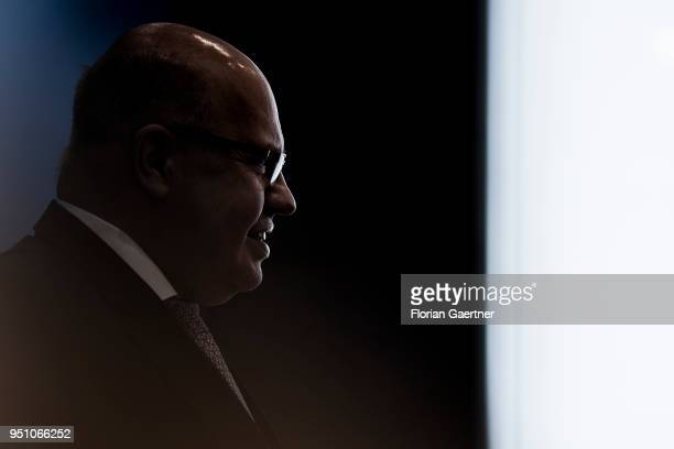 German Economy Minister Peter Altmaier is pictured during a press conference on April 25 2018 in Berlin Germany