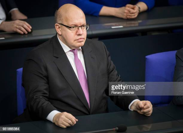 German Economy Minister Peter Altmaier is pictured during the swearingin ceremony of the new federal government on March 14 2018 in Berlin Germany 55...