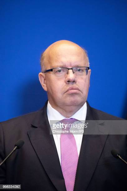 German Economy Minister Peter Altmaier speaks during a joint press conference on July 11 2018 in Paris France The German minister is in Paris on...