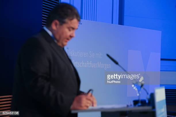 German Economy Minister Sigmar Gabriel attend a 'Wirtschaft fuer Morgen Economy for Tomorrow' Panel discussion on October 14 2014 in Berlin Germany /...