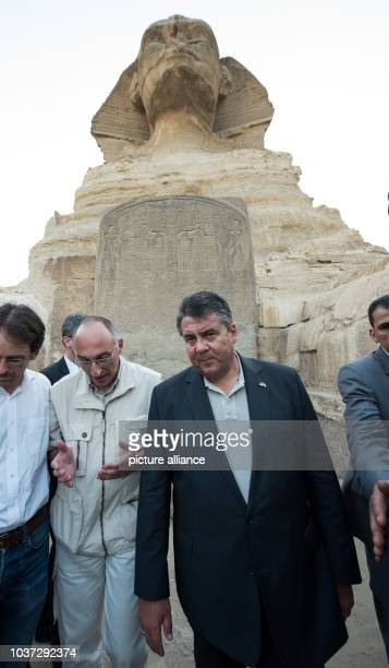 German economy minister Sigmar Gabriel talks to Tarek Tawfiq director of the Grand Egyptian Museum in Cairo during a visit to theGreat Sphinx and...