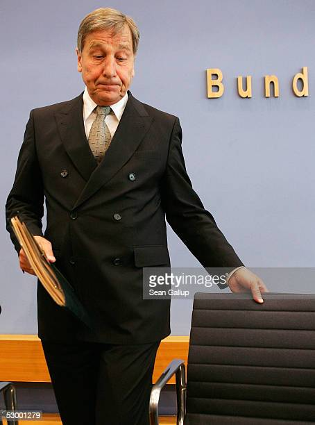 German Economy Minister Wolfgang Clement arrives at a press conference to discuss German unemployment figures on May 31, 2005 in Berlin, Germany....
