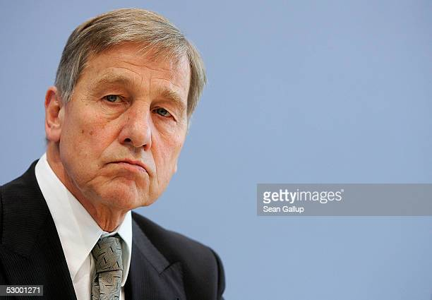 German Economy Minister Wolfgang Clement speaks at a press conference to discuss German unemployment figures on May 31, 2005 in Berlin, Germany....