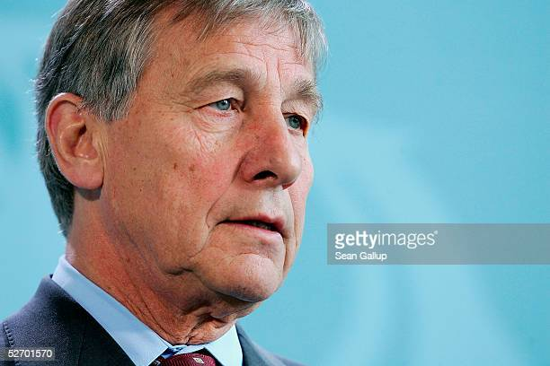 German Economy Minister Wolfgang Clement speaks to the media after the weekly German cabinet meeting April 27, 2005 in Berlin, Germany. The main...