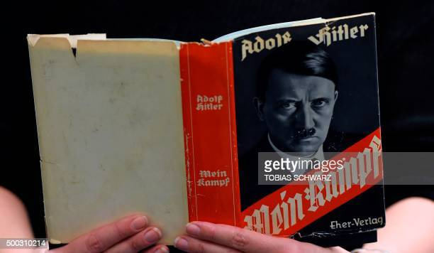 A German edition of Adolf Hitler's 'Mein Kampf' is pictured at the Berlin Central and Regional Library in Berlin on December 7 2015 For the first...