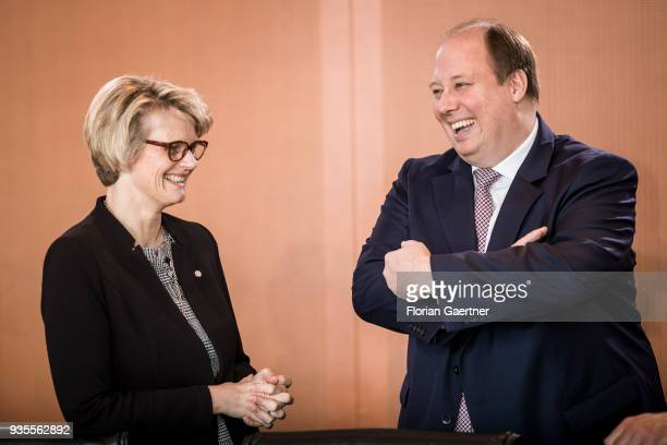 German Education Minister Anja Karliczek talks with Head of the German Chancellery Helge Braun before the weekly cabinet meeting of the Federal...